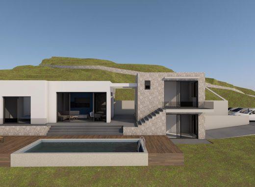 Ανέγερση δύο υπόσκαφων κατοικιών με πισίνα και μιας κατοικίας με φυτεμένο δώμα και ξενώνα με πισίνα