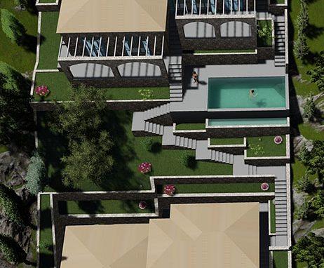 Ανέγερση δύο πέτρινων κατοικιών με πισίνα